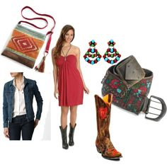 cowgirl style -- Cute boots and dress. The rest, boo.
