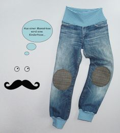 from MamaHose to Kinderhose .Pol: … Upcycling … from MamaHose to Kinderhose …. Source by Sewing Kids Clothes, Sewing For Kids, Baby Sewing, Diy Clothes, Baby Knitting Patterns, Altering Jeans, Next Jeans, Jeans Fit, Sewing Jeans
