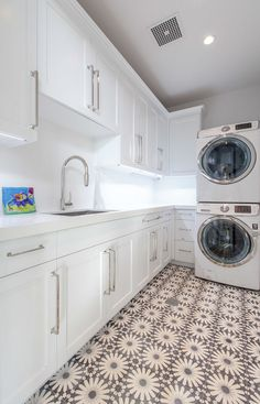 24 Ways To Use Patterned Tile In Neutral Es Laundry Room Remodel