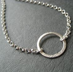 Sterling Circle Necklace Sterling Silver Circle by juliegarland, $28.00