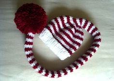 Baby Tail Pom Hat, Newborn Photo Prop, knit, red, white, candy cane, Christmas. $27.00, via Etsy.