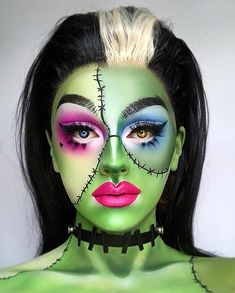 75 Pretty Halloween Makeup Ideas—Minimal Costume Required Pretty Halloween makeup ideas to inspire your costume. From sugar skull and cat to fairy, take a look at these pretty ideas for Halloween! Halloween Makeup Sugar Skull, Amazing Halloween Makeup, Sugar Skull Makeup, Pretty Halloween, Skeleton Makeup, Halloween Vampire, Maquillage Sugar Skull, Frankenstein Makeup, Make Up Artist Ausbildung