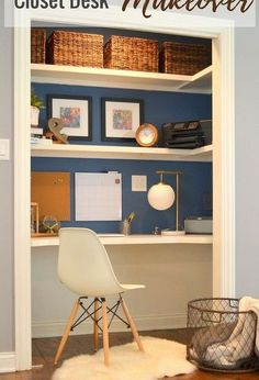 closet desk makeover, diy, home decor, painted furniture, storage ideas