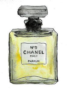Chanel n @ 5 parfum perfume Fashion Sketches, Fashion Illustrations, Fashion Drawings, Fashion Art, Trendy Fashion, Perfume Chanel, Watercolor Flower, Watercolor Painting, Chanel No 5