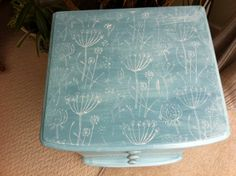 Chest of drawers painted with Autentico chalk paint and decorated using a roller.
