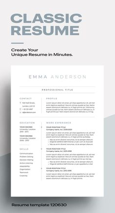 Classic Resume Template MS Word, Apple Pages - Cv Unique, Unique Resume, Basic Resume, Resume Tips, Resume Examples, Visual Resume, Resume Ideas, Free Resume, Job Resume Template