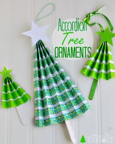 These Easy Accordion Tree Ornaments are an excellent way to keep little hands bu., DIY and Crafts, These Easy Accordion Tree Ornaments are an excellent way to keep little hands busy over winter break. Gorgeous on your tree or on top of a gift! Preschool Christmas, Christmas Paper, Christmas Activities, Christmas Crafts For Kids, Diy Christmas Ornaments, Christmas Projects, Holiday Crafts, Christmas Holidays, Christmas Gifts