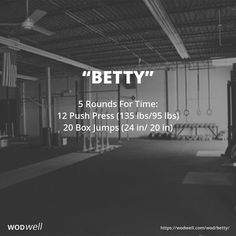 5 Rounds For Time: 12 Push Press lb); 20 Box Jumps 20 in) Crossfit Workouts At Home, Wod Workout, Crossfit Baby, Crossfit Memes, Hero Workouts, Rowing Workout, Crossfit Athletes, Kettlebell Training, Kettlebell Swings