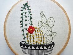 Plant Embroidery 'Cacti Multipot' 4 inch by CheeseBeforeBedtime