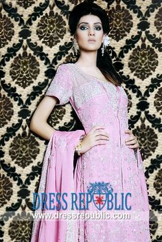 Dark Pink Schiffer, Product code: DR4456, by www.dressrepublic.com - Keywords: Ruby Shakel Anarkali Dresses, Ruby Shakeel Pishwas Collection, Shaista Wahidi Morning Show