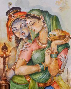 Krishna Drawing, Krishna Painting, Indian Art Gallery, Krishna Radha, Hindu Deities, Gods Love, Folk Art, Princess Zelda, Drawings