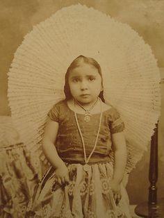 19th Century Tehuantepec Oaxaca Mexican Girl Portrait.