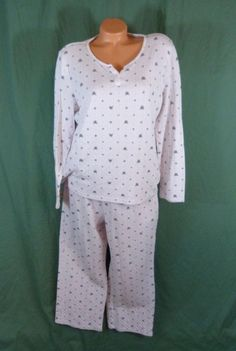 76d9daaab0752 Croft  amp  Barrow 2 Pc Large Fleece PJS Pajamas Set Cotton Fox Pink L