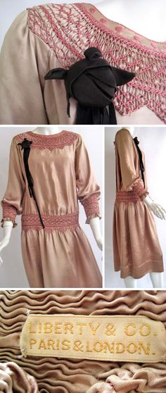 Day dress, Liberty & Co., circa 1920s. Silk charmeuse peasant dress with smocking and black rose. Hand-smocked peasant dress. Hand embroidered. Black silk rose. Buttons at back of neck and small of back. Via Saffron Vintage/1st Dibs