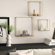 Mercury Row® Hudspeth 3 Piece Wall Shelf Set, Wood/Metal in Gold/Brown, Size 21