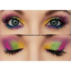 summer colorful eye makeup #rainbow #biglashes