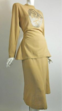1940s fawn colored rayon 2 piece dress with flat head stud design, DCV