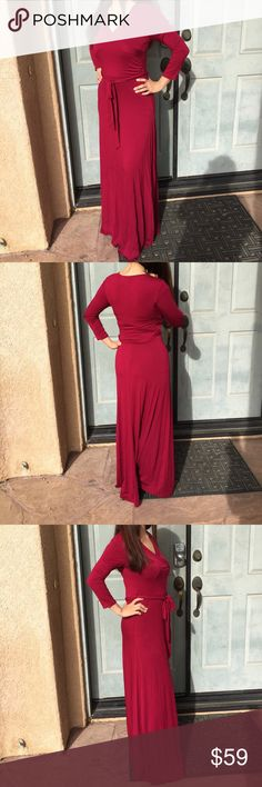 Women wrap party casual maxi dress burgundy small New but the waist band missing the stitching tua Dresses Maxi
