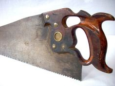 Vintage Horned Hand Saw / H Disston and Sons Philadelphia circa Rip Saw Antique Woodworking Tools, Woodworking Hand Tools, Antique Tools, Old Tools, Vintage Tools, Woodworking Projects, Wood Projects, Hand Saw, Making Tools