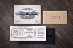 Cool ticket wedding invite. Navy & Gold by designer arian franz