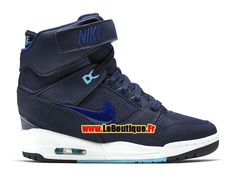 Nike Wmns Air Revolution Sky Hi 2015 - Chaussure Montante Nike Pas Cher Pour Femme Bleu nuit marine/Bleu royal profond/Blanc/Bleu bâche 599410-403