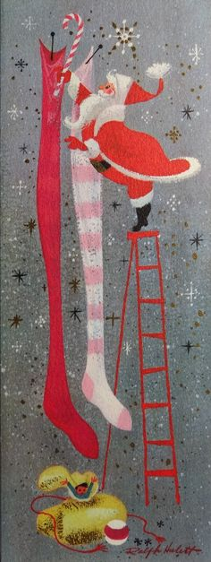 Ralph Hulett Christmas card.....Would make an adorable Christmas wall hanging :D I may have to try this!