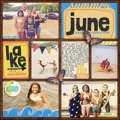 summer scrapbooking, scrapbook layout