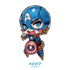 ArtStation - Chibi Captain America, Jr Pencil