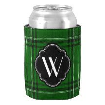 Green Plaid and Monogram Can Cooler