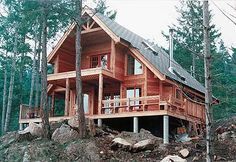 Chalet house plans bring Swiss-inspired details to mountain house plans. A-Frame house plans may include chalet details like decorative trim and porches. A Frame House Plans, Cabin House Plans, Cottage Floor Plans, Cottage House Plans, Small House Plans, Cottage Homes, Build House, Rustic House Plans, Log Home Plans