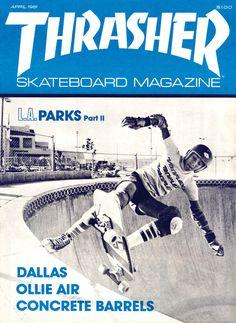 Allen Losi - No handed fakie thruster - Thrasher Magazine - April 1981