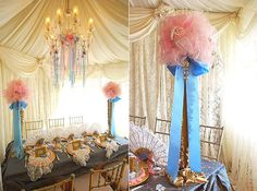 Ceiling draping and lace curtains for a Marie Antoinette-inspired bridal shower