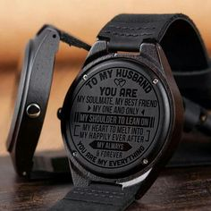 Perfect Gift For Husband Engraved Wooden Watch. Get your husband something special! This is a beautiful watch made from real wood. The watch case and band are made from wood and the clasp is made from real leather. Black friday sale off percent. Gifts For Fiance, Great Gifts For Men, Love Gifts, Gifts For Him, Diy Gifts, Wooden Watch, Wedding Anniversary Gifts, Second Anniversary, Anniversary Quotes