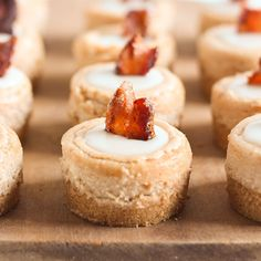 Maple Bacon Mini Cheesecakes are sweet salty perfection! They even have a piece of candied bacon as a garnish AND bacon fat in the graham cracker crust.