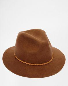 227a45bc34c ASOS Fedora Hat In Brown Felt With Plait Band at asos.com. PlaitMens Caps Hats ...