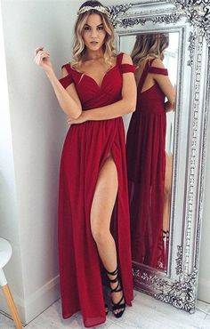 modest red cold shoulder long prom dresses, simple off the shoulder chiffon party dresses, elegant high slit evening gowns with pleats