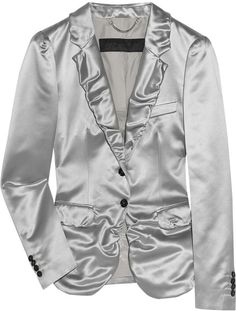 Burberry Prorsum Ruched-lapel Duchess-satin Jacket in Silver