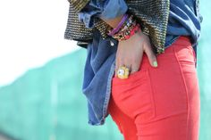 So many trends in one outfit... chambray, bright pants, sequins, and stacked bracelets