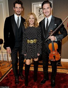 Kylie Minogue, David Gandy and violinist Charlie Siem at the D&G LC:M event in London - january 5, 2014