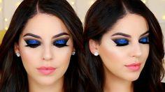 Ojos Ahumados Negro con Brillo Azul para Año Nuevo | Black & Blue Glitte...