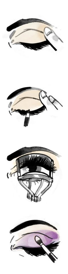 Achieving after-dark eyes—the black liner, the smoky shadow—made simple by makeup artist Sandy Linter.