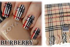 Tan Nails with red, black & white Burberry stripes, Free hand nail art