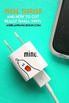Vinyl phone charger decal - A girl and a glue gun