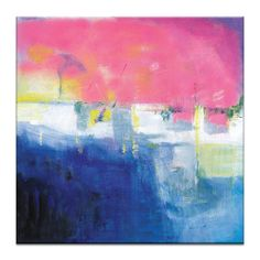 Pink Sunset Painting Print on Wrapped Canvas