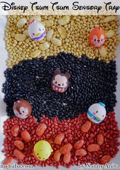 Celebrate Mickey Mouse's Birthday with this Mickey Mouse Sensory Tray filled with dyed dried beans. Sensory Bins, Sensory Activities, Sensory Play, Educational Activities, Toddler Activities, 90th Birthday, Amusement Park, Trays, Fun Things