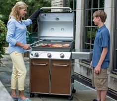cooking outside with genesis e 310 gas grill