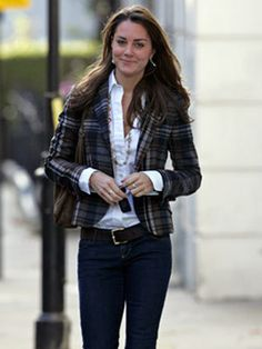 9a7996e0ccec Kate Middleton Style File: 2006 Kate Middleton works a smart casual look in  jeans teamed with a crisp white shirt and a tartan blazer in Chelsea,  October