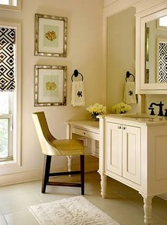 This is exactly what I want- a vanity with an area to sit and do my makeup. :)