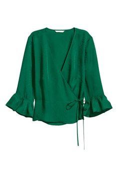 Blusa cruzada con estampado - Verde esmeralda/Hoja - MUJER   H&M ES 1