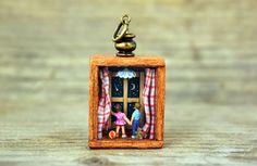Miniature world boy and girl holding hands. MicroJewellery, $50.00
